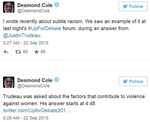 cole trudeau racism